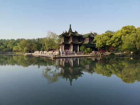 ancient Pavilion with lake scenery