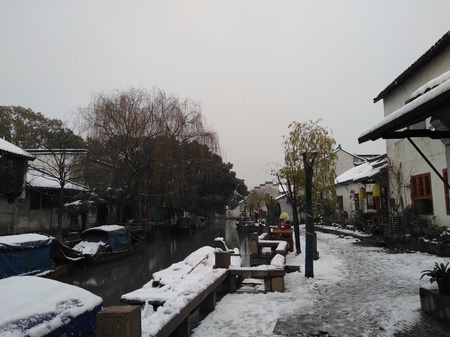 Jiangnan anceitn town winter snow scene Editorial