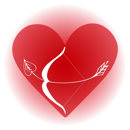 Leaf arrow is curl in red heart stands for beating
