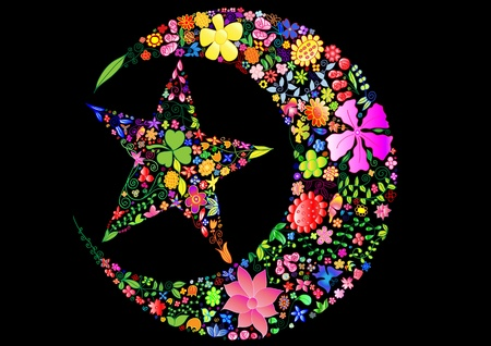 Beautiful moon and star with lots of vivid flowers in the black background can be used as many kinds of package or as anything you wish