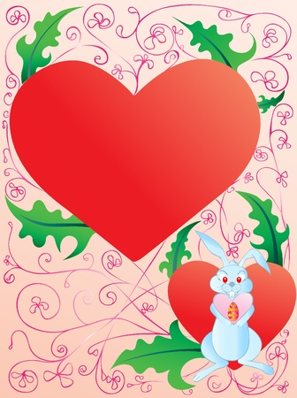 Bunny holding an easter egg in heart background