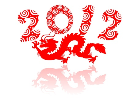 Red dragon silhouette flying in the year of 2012. Stock Vector - 12325161