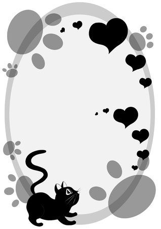 Cute cartoon black cat background with cat foot prints and hearts. Illustration