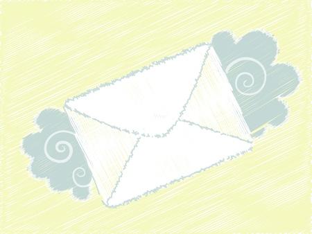 Flying cartoon envelop mails lovely message Illustration