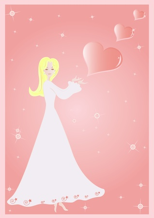 A cartoon girl in white dress is dreaming about romatic things.