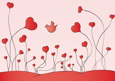 Growing hearts on the earth.  Illustration