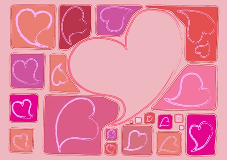 Pink background with many hearts Stock Vector - 12325185