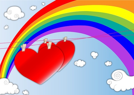 Two hearts in the air with a seven color rainbow background. Illustration