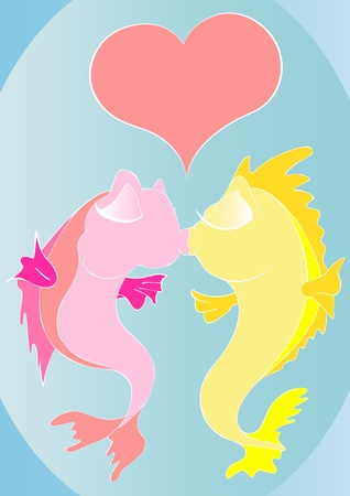 deeply: Two cartoon fishes are kissing deeply.