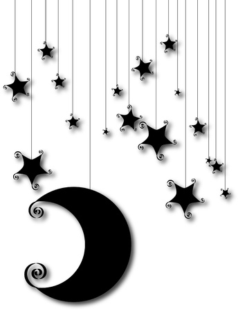 white star line: Lovely moon and stars silhouette are isolated on white