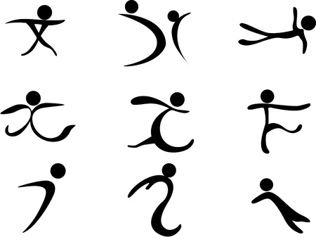Set of 9 simple sportsman icons
