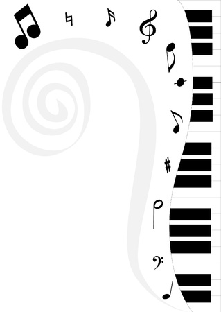 Simple piano keyboard playing sounds on white background can be used as advertisement , cards, wallpaper, etc. Illustration