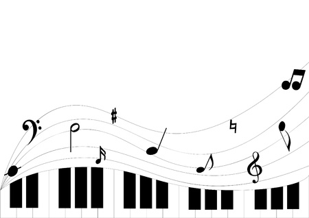 Simple piano keyboard playing sounds on white background can be used as advertisement , cards, wallpaper, etc. Иллюстрация