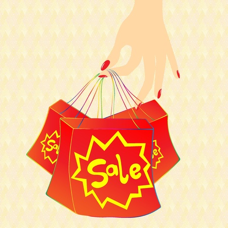 A beautiful hand is carrying hot sale bag shows hot sale or big sale maybe use for supermarket or stores Vector