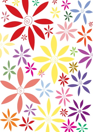 Corrugated flowers background with vivid color can be used as postcard or curtain design background. Illustration
