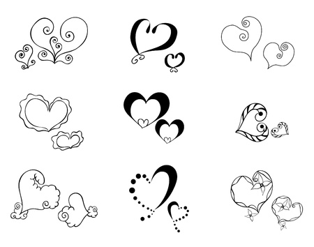 Heart with floral ornament, Element for design, vector image, set of 9 cute hearts Illustration