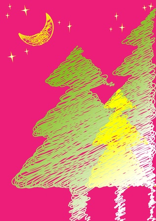 Hand-drawing green and yellow Christmas trees standing in the pink night stands for happiness, passions, luck. Illustration