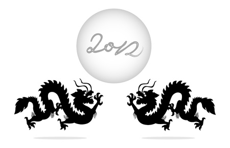Two dragons with a ball showing the year 2012 is coming !