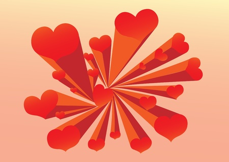 Valentine background is filled with red hearts. Stock Vector - 12325159