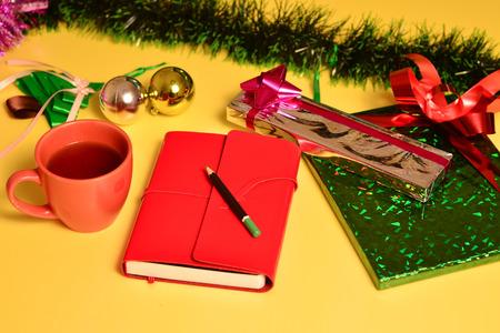 joyous festivals: studio shot of christmas background and gift boxes Stock Photo