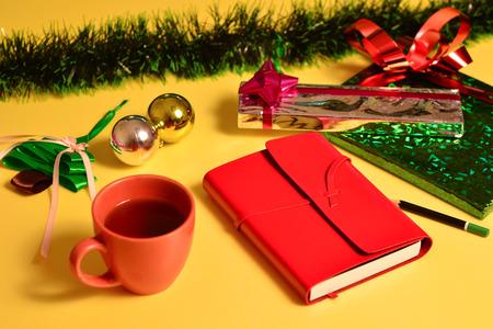 joyous festivals: studio shot of christmas background of gift boxes Stock Photo
