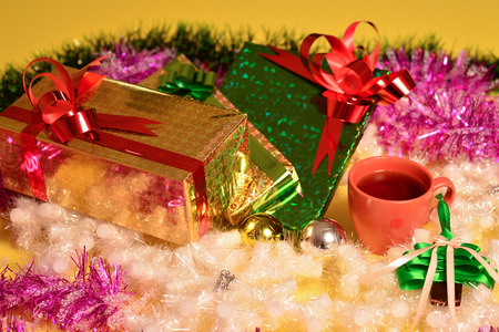 joyous festivals: studio shot of christmas background of gift boxes Stock Photo