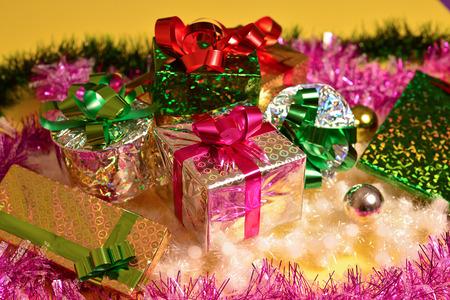 tourné en studio de fond de Noël de coffrets cadeaux