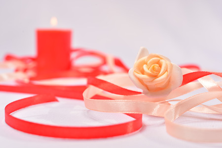 wedding background with thin ribbons and candles