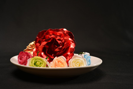 flowers in plate can be used as background Stock Photo