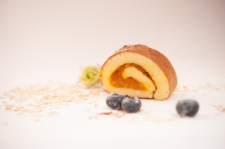 blue berry: cake roll with blue berry  Stock Photo