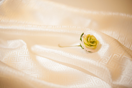 roses on the silk  Stock Photo