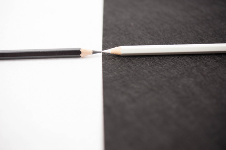 white 7 black color pencils Stock Photo