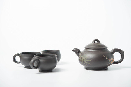 teaset: redware teaset can be used as tea advertisement Stock Photo