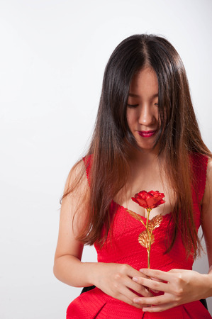 a lady in red dress