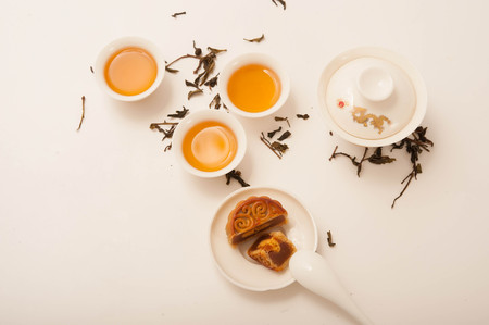 moon-cake with Chinese Tea pot and tea cup Stock Photo