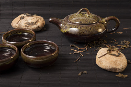 chinese teapot: Chinese teapot and tea cup