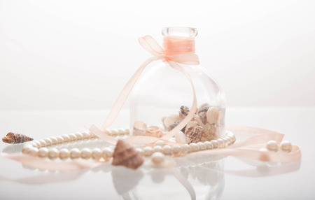 margarite: Pearl necklace and seashells Stock Photo