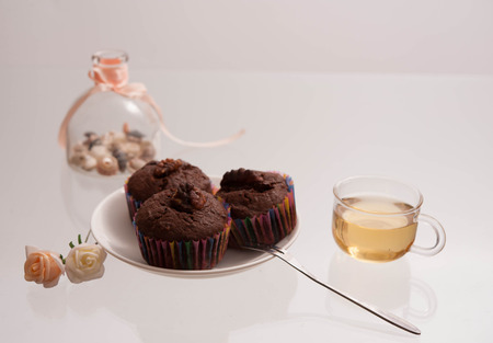 limpid: Muffin and drinks  Stock Photo