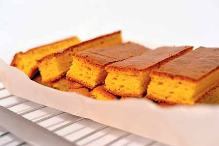 Close up to a tray of chiffon cake strips