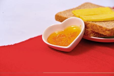 jams: butter toast with jams Stock Photo