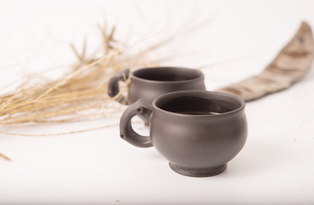 teaset: close view of teaset with white background