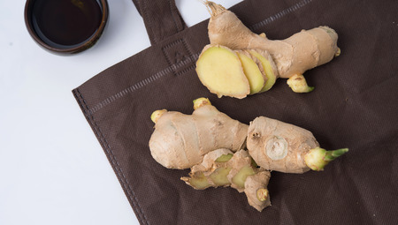 Attar: ginger oil photo can be used as healthy life background Stock Photo