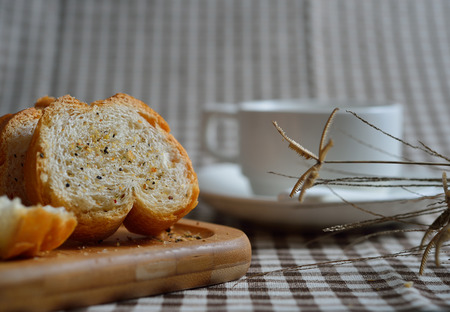 bread and beverage Stock Photo
