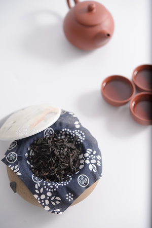 china traditional tea set and tea leaf Stock Photo