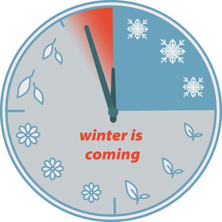 Winter is coming. Clock. Change of seasons