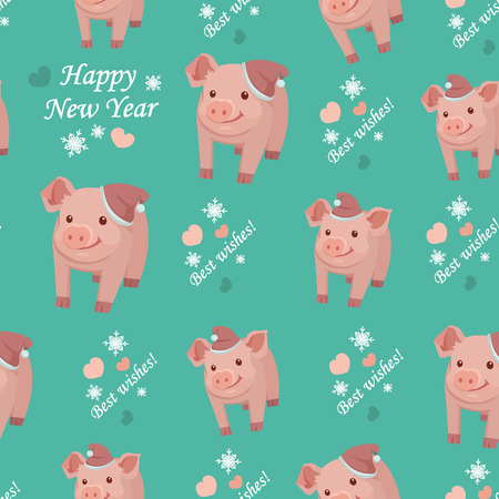 New Year 2019. Seamless pattern with pigs, vector textile fabric print. Vector illustration Archivio Fotografico - 124388004