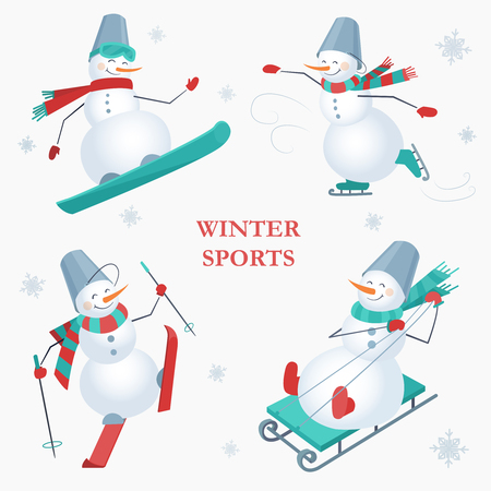 Set of snowmen on a white background with snowflakes. Winter sports. Snowboarding, skating, skiing and sledging snowman.