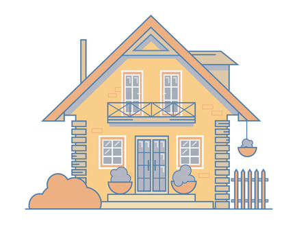Brick cosy cottage house with a balcony, attic, fence, bushes and large windows. Vector illustration EPS 10 file.