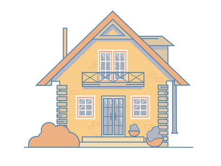 Brick cosy cottage house with a balcony, attic, bushes and large windows. Vector illustration EPS 10 file. Illustration