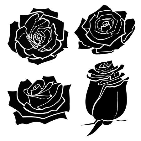 Satz von vier schwarzen Vektorsilhouetten von Rosenblüten auf einem weißen Hintergrund. Vektor-Illustration EPS 10-Datei Vektorgrafik